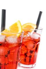 glasses of spritz aperitif aperol cocktail with orange slices