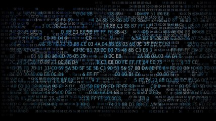 Hexadecimal code running up a computer screen. Blue digits.