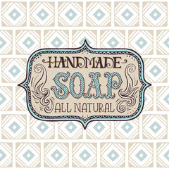 Hand drawn label and pattern for handmade soap bar