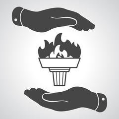 black torch icon with flame and flat hands on a grey background