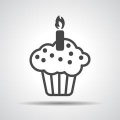black flat cake icon