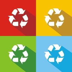 Iconos reciclaje colores sombra