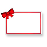 Biglietto con fiocco e cornice rossa