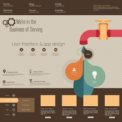 Retro Watertap Infographics and Fltat website template