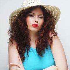 Beautiful woman with hat