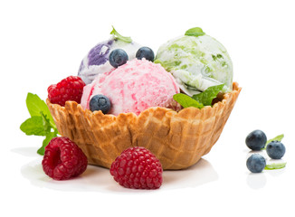 Ice cream of berry in a basket of waffle