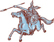 Постер, плакат: Valkyrie Warrior Riding Horse Spear Etching