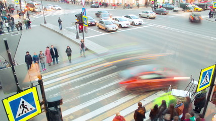 Time lapse view on a rush hour street movement