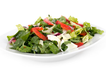 egg and vegetables healthy organic salad over white background