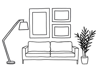 sofa and blank picture frames, vector mockup