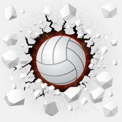 Volleyball and with wall damage
