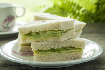 Traditional cucumber sandwich at teatime.
