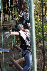 Girl with climber equipment