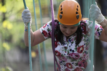Person with climber equipment