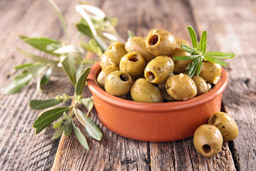 green olive and herbs