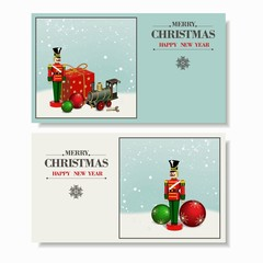 Beautiful set. Christmas and a Happy New Year greeting card.