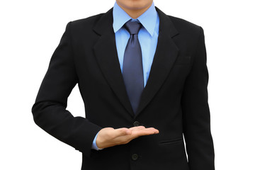 Business man holding black suit isolated.