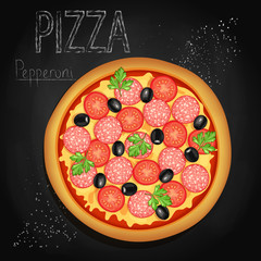 Pizza on a black background