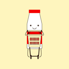 Milk bottle and shopping cart
