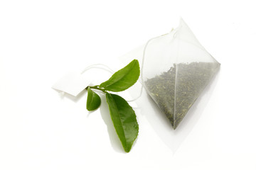 green tea /Teabag and fresh green tea leaves