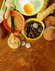 ingredients for baking and desserts cookies, muffins, waffles