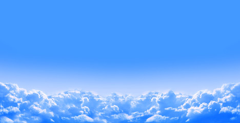 Nature background with white clouds in the blue sky