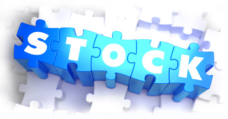 Stock-White Word on Blue Puzzles.
