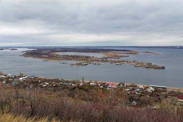 Saratov. View of island Zelenyy on Volga River. Russia