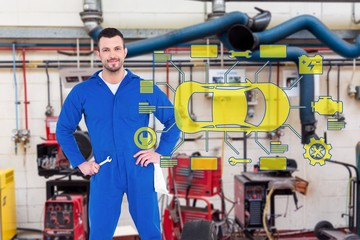 Composite image of smiling male mechanic