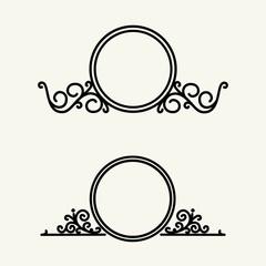 Vintage, stylish and graceful floral  emblem and monogram