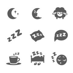 isolated sleep icons set