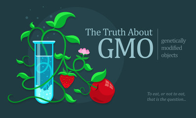 GMO genetically modified fruits growing in test tube. Eps10