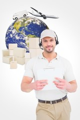Composite image of delivery man with headset and clipboard
