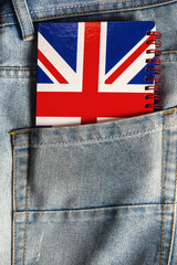 English vocabulary in the pocket of jeans