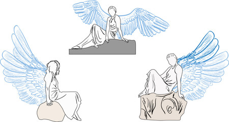 three angel sketches isolated on white