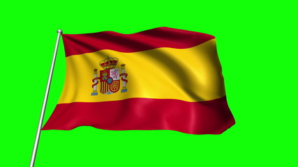 Spain flag with fabric structure (loop, green background)
