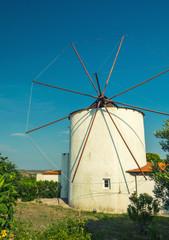 Windmill against a beautiful blue sky