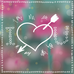 Herz mit Pfeil Bokeh Hintergrund