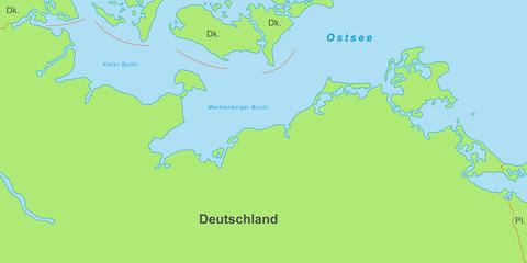 Ostseeküste - Karte in Grün (mit Beschriftung)