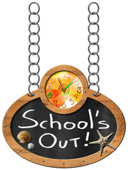 School's Out - Blackboard with Chain