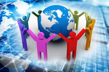 Communication. 3D. Business Network
