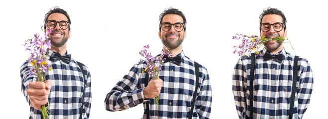 Posh boy with flowers