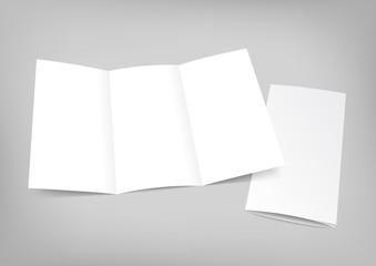 Blank white folding paper flyer on gray background.