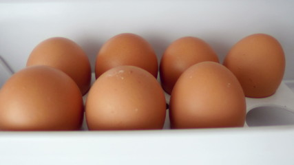 4k of Women hand Open fridge filled and taking a fresh eggs from