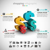 Shopping Infographic made of dollar signs.