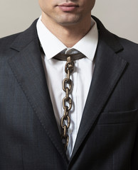 Businessman with chain tie