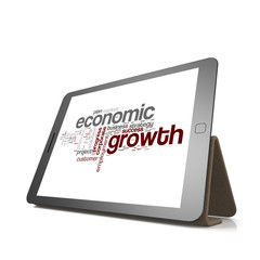Economic growth word cloud on tablet
