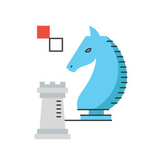 Chess strategy flat line icon concept