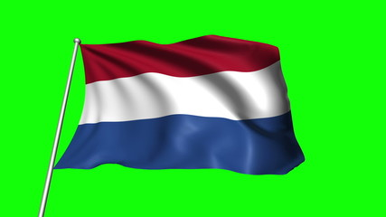 Netherlands flag with fabric structure (loop, green background)