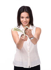 Smiling businesswoman counting money